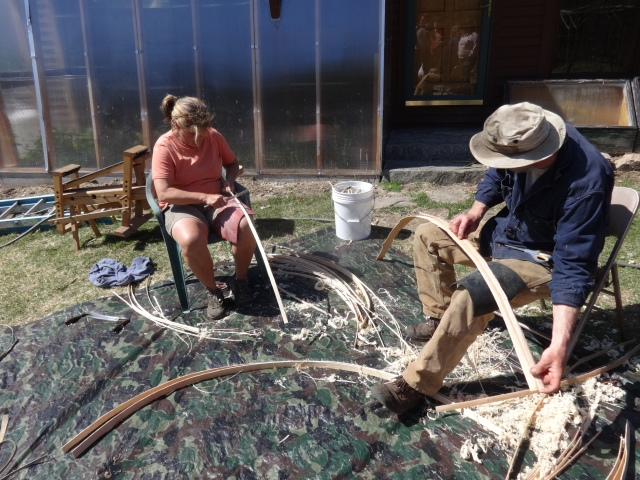 Claudia and Mark hard at work scraping Brown Ash weavers and ribs.